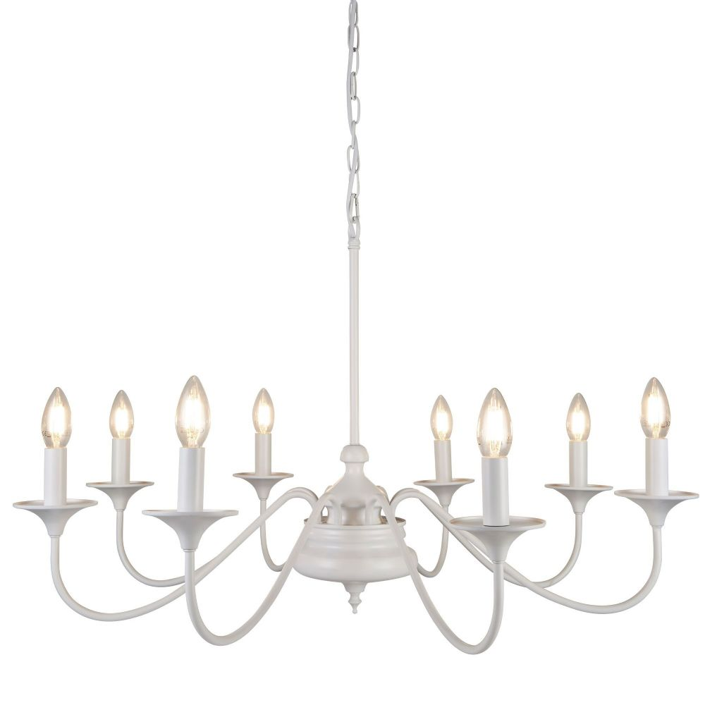 Elizabethan Large 8 Light Ceiling, Matt White (Double Insulated) Bx6178-8Wh-17